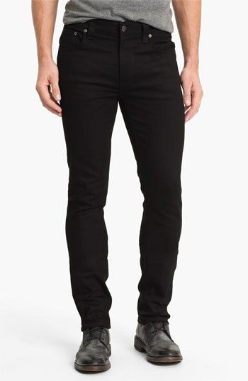 $165, Navy Skinny Jeans: Nudie Jeans Thin Finn Skinny Fit Jeans. Sold by Nordstrom. Click for more info: https://lookastic.com/men/shop_items/226570/redirect