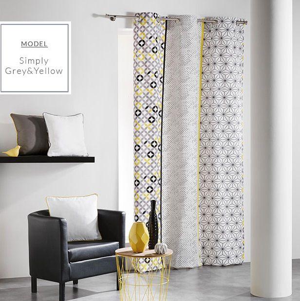 Dekoracyjne szaro żółte zasłony skandynawskie z wzorem geometrycznym