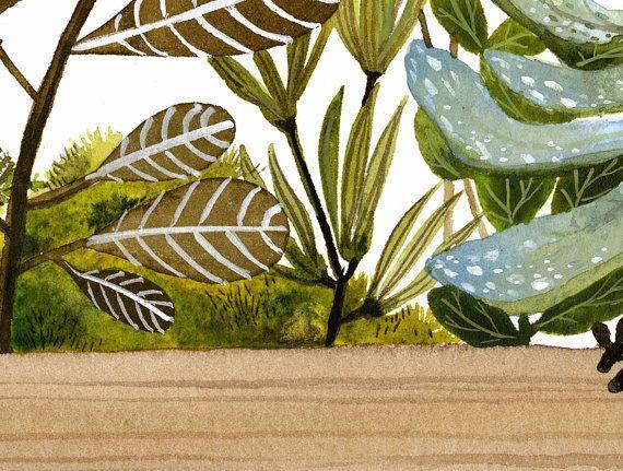 Акварельная живопись для печати Ящик и растения Распечатать от amberalexander