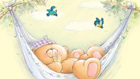 Teddy Rest - sleep, children, birds, summer, rest, hammock, sweet, animal, teddy…