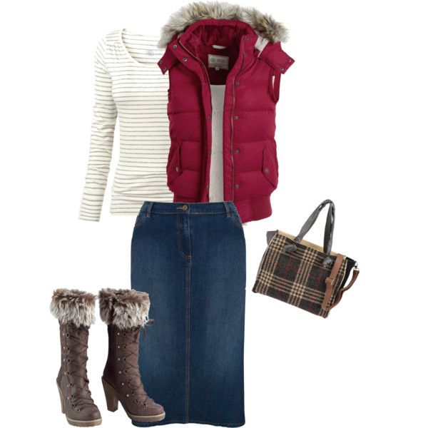 A fashion look from October 2012 featuring Fat Face t-shirts, Fat Face vests and Ann Harvey skirts. Browse and shop related looks.