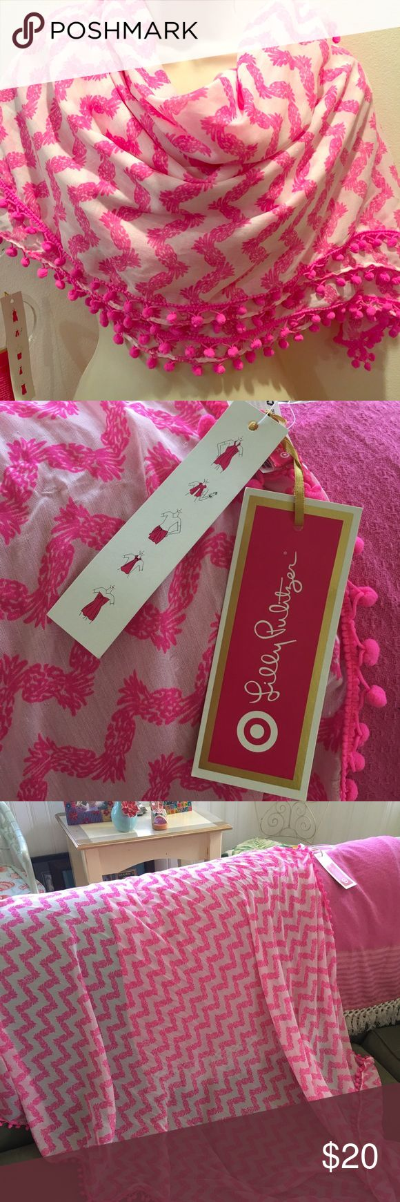 """Lilly Pulitzer for Target pineapple scarf New with tags, pink pineapple print scarf. This is a large scarf that can be used for a sarong, beach cover-up, even a table cloth, in addition to the traditional neck scarf. Measures 43""""x70"""" Lilly Pulitzer Accessories Scarves & Wraps"""