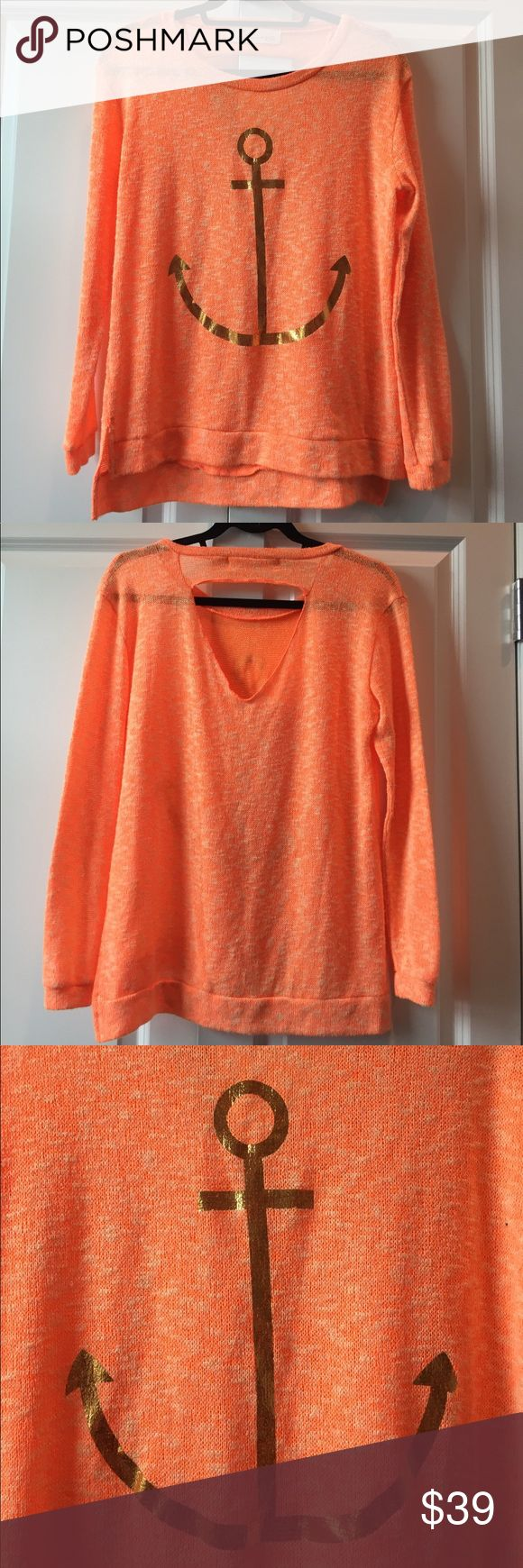Vintage Havana Orange and Gold Anchor Sweater Vintage Havana Orange and Gold Anchor Sweater with cut-out in the back size Medium. This lightweight sweater is perfect for a cool summer night and has a large gold anchor on the front. Like new condition only worn a few times Vintage Havana Sweaters Crew & Scoop Necks