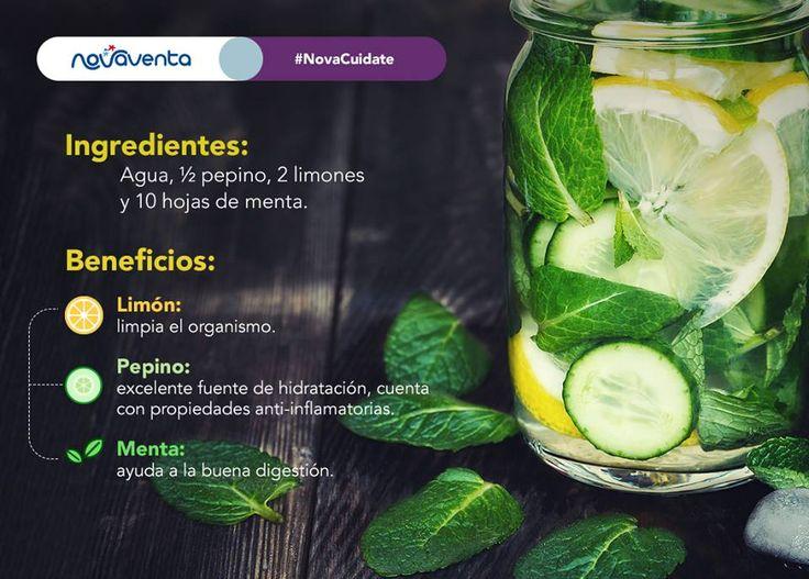¡Cambia las gaseosas por 1 vaso de agua saborizada natural! Trae grandes beneficios para tu salud.  *Mezcla todos los ingredientes y déjalos reposar por 1 noche en la nevera.