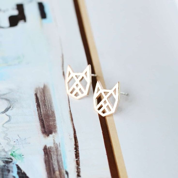 Chat Origami Rose Gold Earrings
