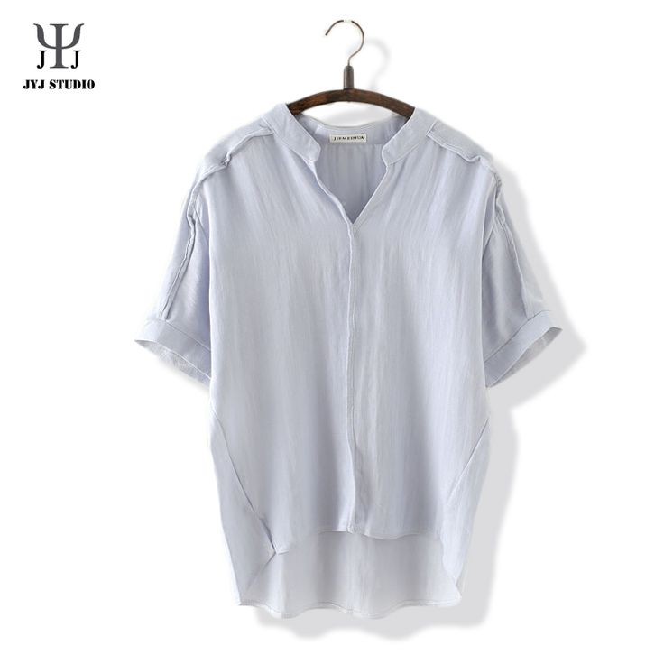 Aliexpress.com : Buy Mori Girl Casual Summer T shirt For Women Cotton Blouses Short Sleeve V neck Blue White Loose Blouses Pure Color Shirt from Reliable t-shirt screen printing equipment suppliers on JYJ STUDIO