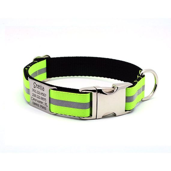 Reflective+Dog+Collar+with+Laser+Engraved+BuiltIn+by+LaserPets,+$31.99