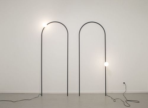 """Arch Lamp 2012 wire, powder coated, lamp components, bulb 32"""" x 88"""" (each)"""