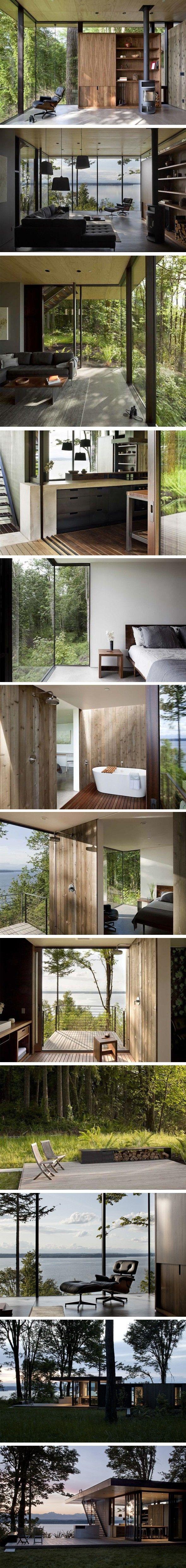 Baies vitrées piece principale - douche d'exterieur - fenêtre d'angle dans la chambre - acces toit depuis la terrasse - toit végétalisé