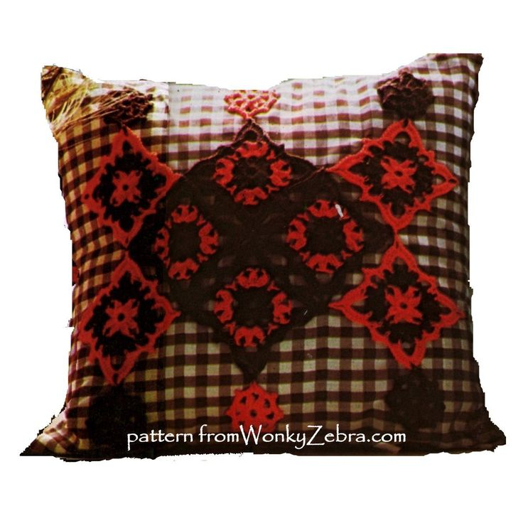 WZ681 crochet and gingham cushions. red and brown are very dramatic!.Two different cushion/pillows in this pattern from WonkyZebra.com