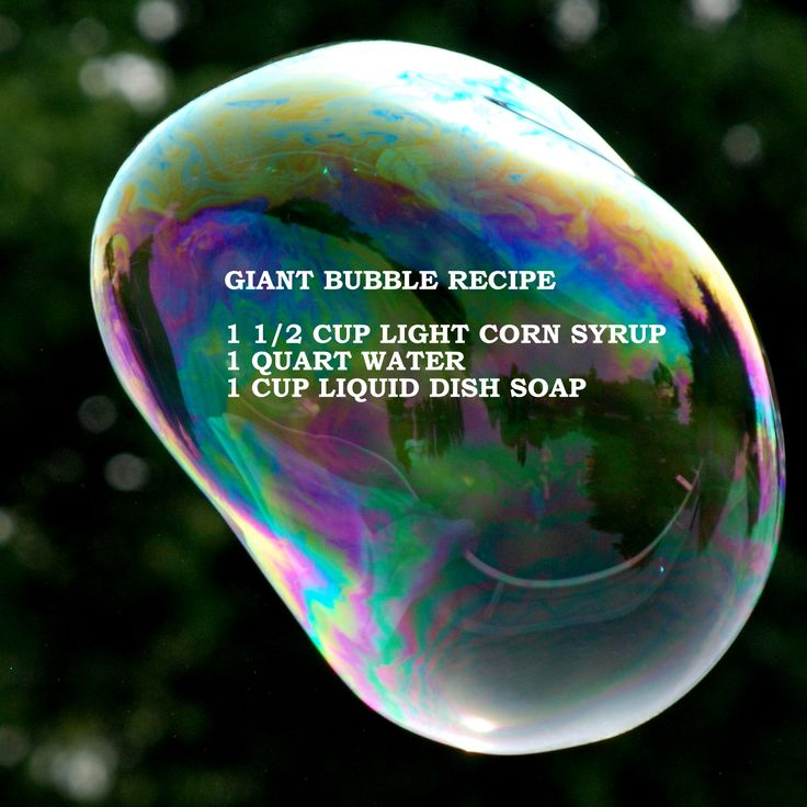 Bubble Recipe - with Corn Syrup. Never know when you might need this! LOL!