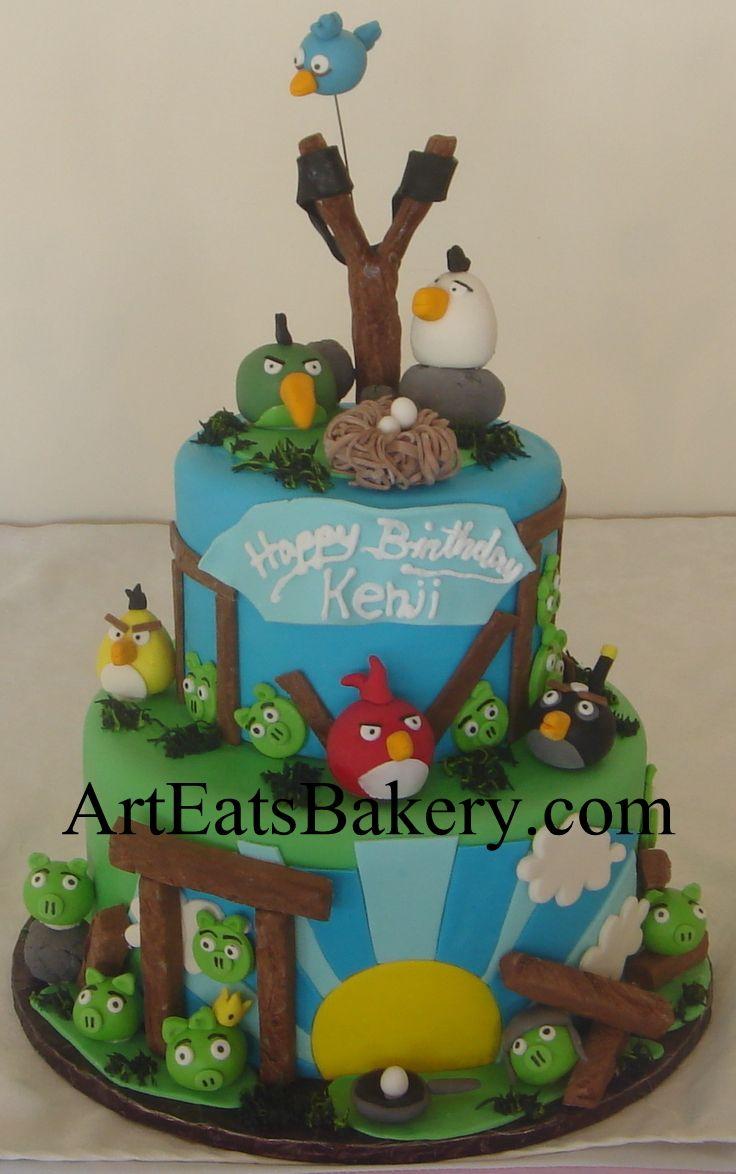 Angry birds custom unique 3 tier fondant birthday cake ...