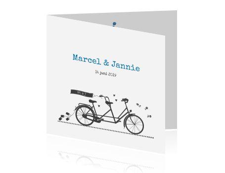 Trendy uitnodiging bruiloft met fiets op witte achtergrond
