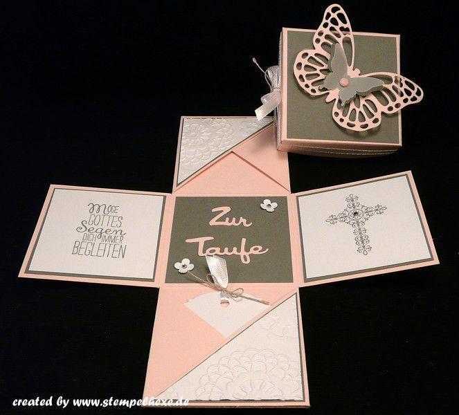 Geldgeschenke Box Zur Taufe Madchen Geld Geschenk Ein Designerstuck Von S Box Designerstuck Ein Gel Cardmaking Place Card Holders Exploding Boxes