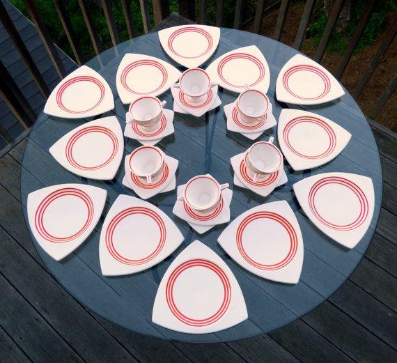 Dinnerware Set for 12: Atomic Art Deco Salem Streamline & Tricorne in Creamsicle Orange - Rare, Vintage Wedding China