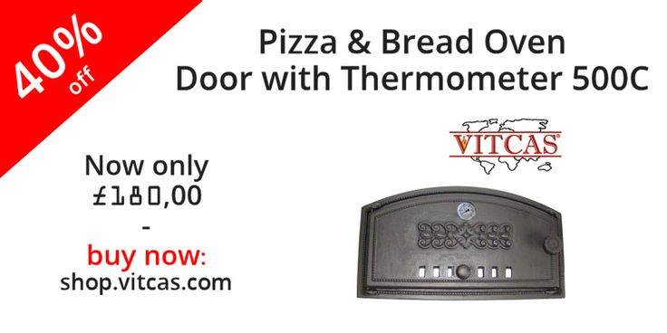 Vitcas luxurious cast iron doors supplied in a mounting frame for building in to wood fired  pizza ovens and bread ovens.  Now only £180.00. Buy now: http://shop.vitcas.com/pizza--bread-oven-door-with-thermometer-500-c-509-p.asp