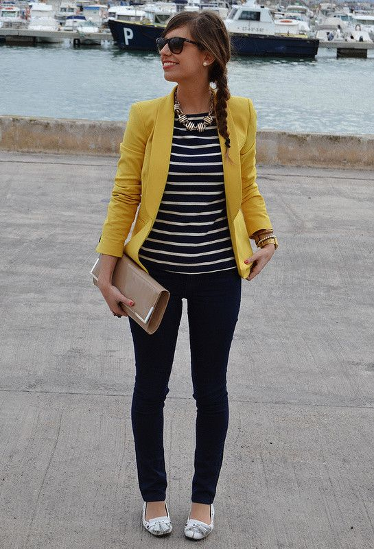 Love this Zara Blazer with navy stripy top, very on trend and stylish look for Spring!