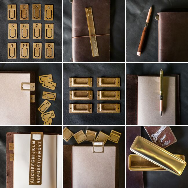 Brass accessories for your Midori Travelers Notebook www.bookbindersonline.com.au
