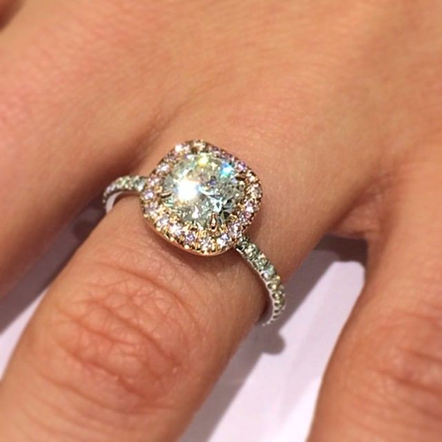 New Engagementring In Stock Featuring A 1 27 Carat Cushioncut Center Diamond Within