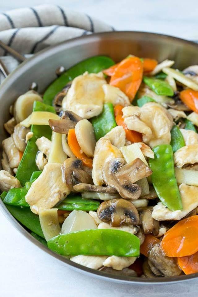 This Moo Goo Gai Pan recipe tastes just like what you can get at a fancy Chinese restaurant!  -->http://www.dinneratthezoo.com/moo-goo-gai-pan/