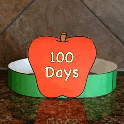 100th Day of School craft for kids - 100 Days hat. Color, cut out, and staple
