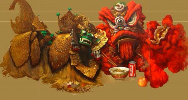 Collaboration of Indonesia and Chinese art