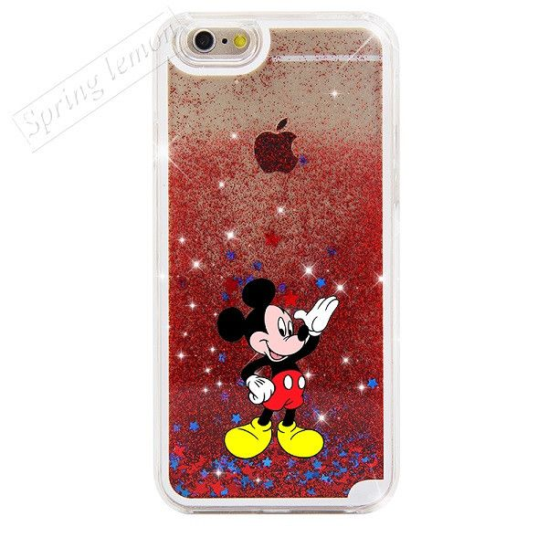 For iphone 6 Case NEW Beautiful Cute Mickey & Minnie Sparkle Glitter Liquid Stars Hard Cover Case For iphone 6s 6 plus 6s plus