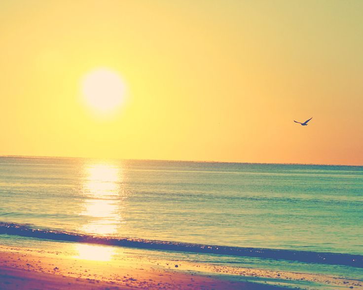 ocean photography sunrise beach photography coastal art yellow blue beach print 8x10 ocean print. $21.00, via Etsy.