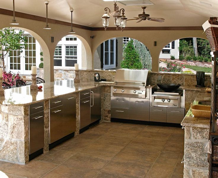 Charmant Kitchen, : Marvellous Outdoor Kitchen Decoration With Stainless Steel  Cabinets, Cream Stone Kitchen Counter And Vintage Ceiling Fan