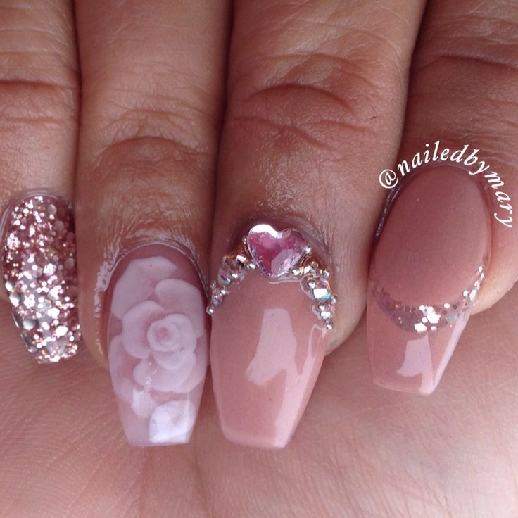 Encapsulated rose elegant pretty cute Swarvoski Crystal rose gold glitter heaven coffin ballerina shape acrylic nude simple love nails