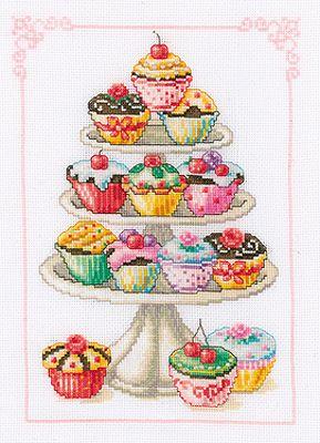 free cup cake cross stich patern | cross stitch kit cupcake anyone is a gorgeous counted cross stitch ...