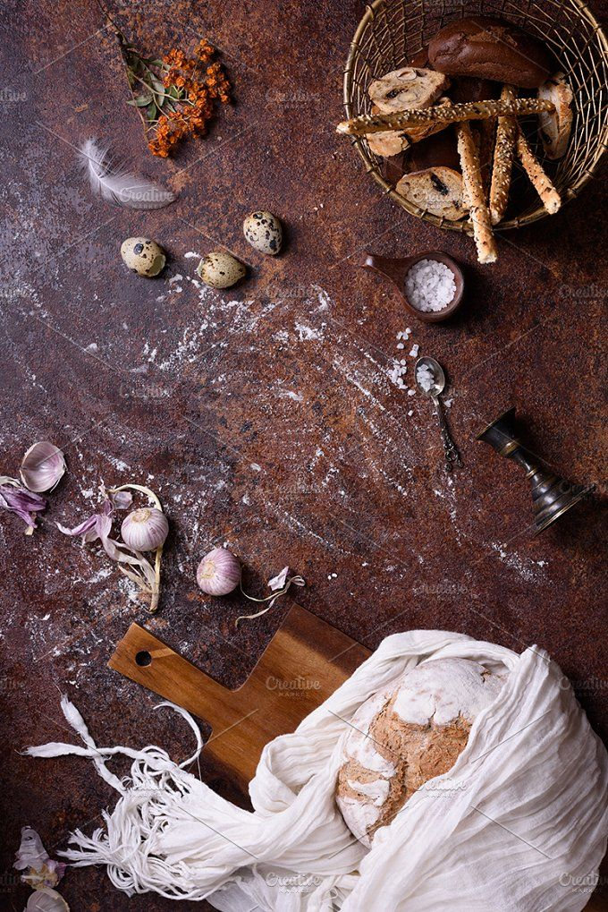 Rustic bread loaf & bread sticks  by Iuliia Leonova on @creativemarket