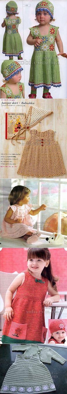 Детские платья, сарафаны и туники вязаные крючком и спицами » Страница 10