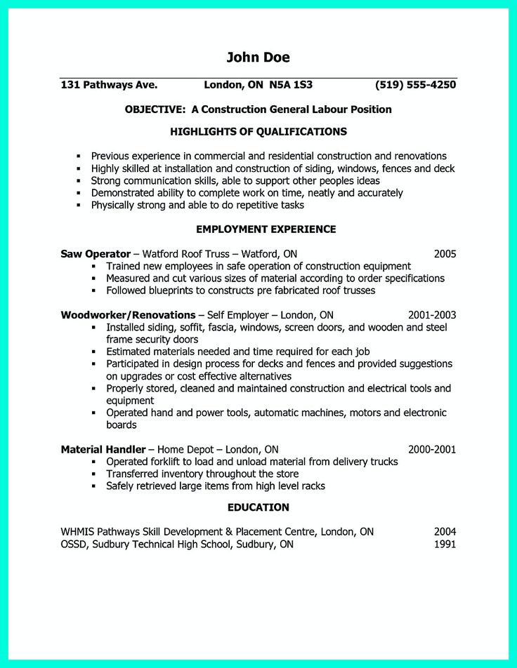 Best 25+ Construction laborer ideas on Pinterest Construction - construction worker resume examples