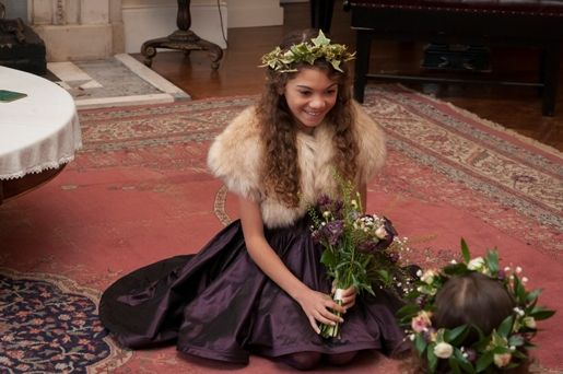 Gorgeous winter flower girl inspiration. Faux faux bolero by Blanche in the Brambles. Dress by Damselfly.