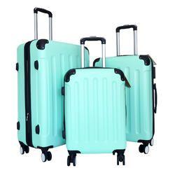 Zota 3Pc Luggage Set Hardside Rolling 4Wheel Spinner CarryOn Travel Case ABS Mint