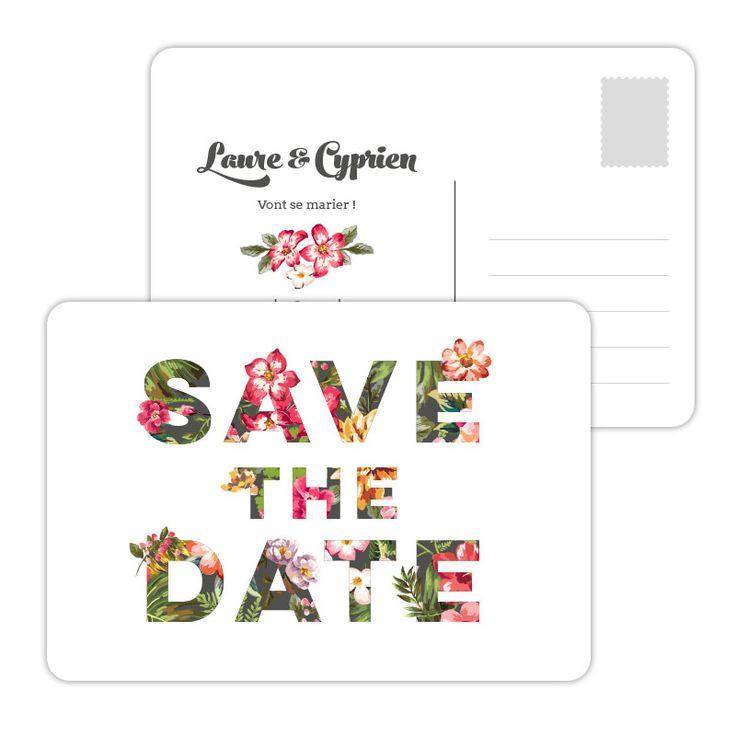 Annoncez la grande nouvelle dès la date fixée avec ce Save the Date haut en couleur pour ce modèle au décor tropical. Format carte postale, coins arrondis.