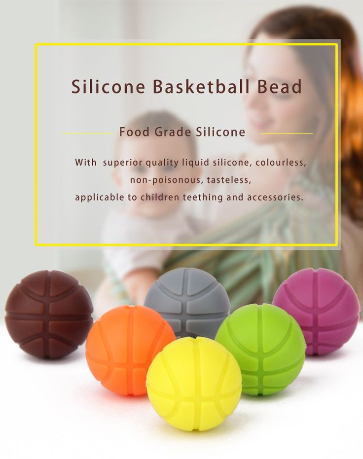 Silicone teething beads for mom, The Rio Olympics basketball teething beads