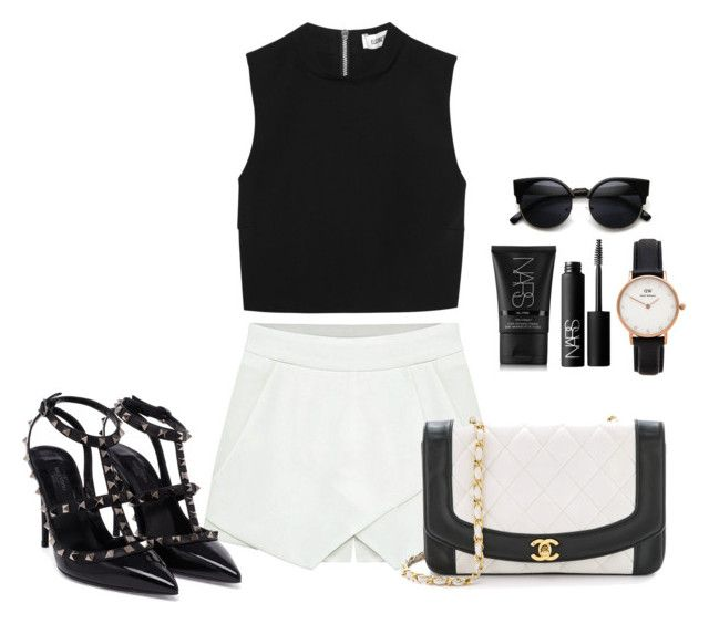 """""""Sem título #334"""" by cecebay ❤ liked on Polyvore featuring Elizabeth and James, NARS Cosmetics, Daniel Wellington and Valentino"""