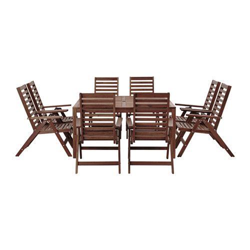 ÄPPLARÖ 餐桌椅組 IKEA 桌面中間有孔洞設計,可固定陽傘 可搭配喜歡的椅墊,增添舒適感與個人風格 表面塗上數層半透明的護木漆,可增加耐用性,突顯天然質感
