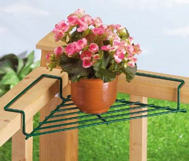 Corner deck railing planter flower pot rail wire shelf balcony plant table stand home and - Corner shelf for plants ...