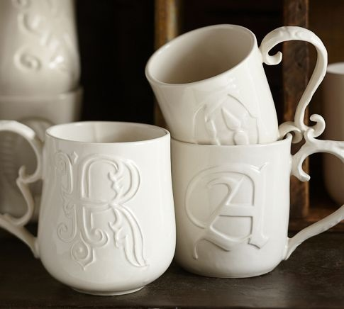 """""""Alphabet mugs""""...$10.00...would be great with some coffee, or hot chocolate as a Christmas gift!"""
