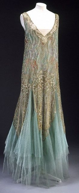 this speaks Mermaid to me~~~; gorgeous 1920's slik chiffon, tulle beaded gown~~~~~~