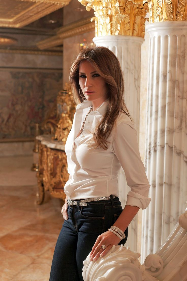 """Peek Inside Melania Trump's World (And Penthouse!) #refinery29  http://www.refinery29.com/melania-trump-interview-pictures#slide-5  What's the single most-worn piece in your closet?""""Jeans— I have that particular pair that I always wear. And, of course, I love shoes. I always have a favorite pair of shoes but it's always changing. I like to change it up with the outfit. I like to match the shoes and coat so you still look chic and elegant even if you wear jeans."""" J-brand jeans, Loubou..."""
