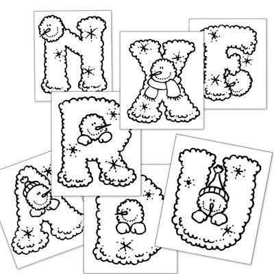 Frozen ABC, píntalas de colores y crea palabras referidas al invierno o la navidad!!