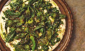 Yotam Ottolenghi's butterbean mash with padrón peppers and jalapeño sauce / Oxtail and butterbean stew with bkeila