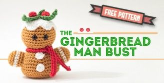 Amigurumi gingerbread man bust