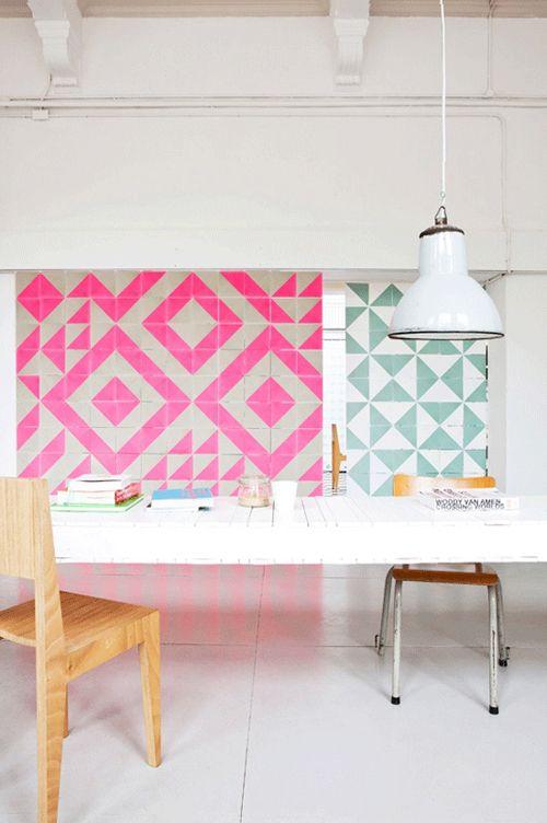 inspiration: Wall Art, Pink Tile, Geometric Prints, Inspiration, Tile Patterns, Color, Studios Boots, Geometric Wall, Wall Tile