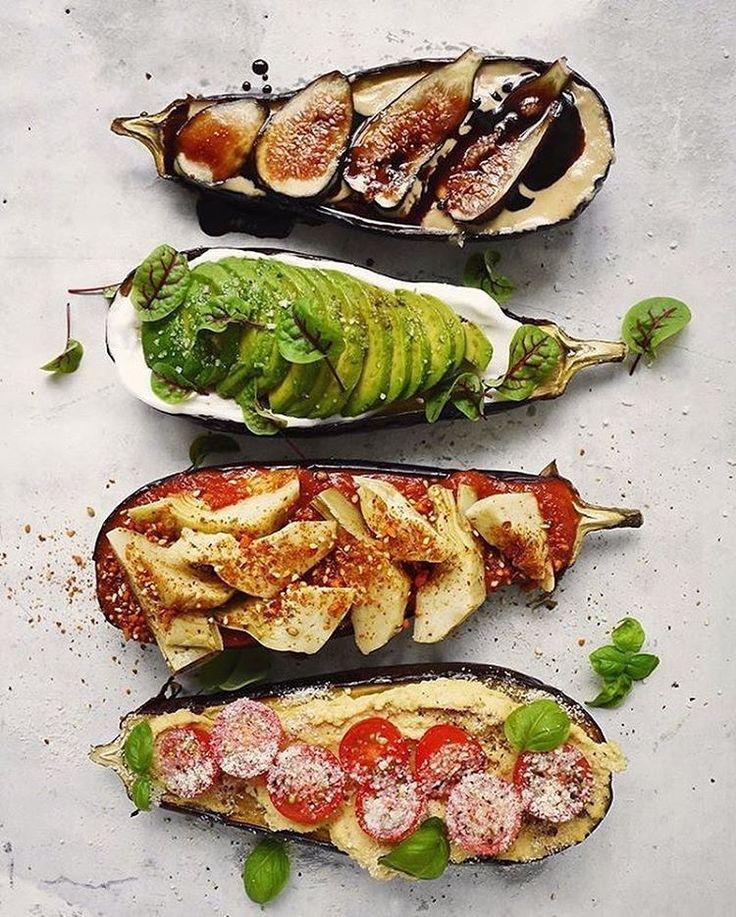"by Julie Resnick on Instagram: ""All my favorite toppings on two perfect #Eggplants by @erinireland ~ Roasted Eggplant Four Ways: 1)Tahini, Figs & Balsamic 2) Avocado, Sorrel & Sea Salt 3) Marinara, Marinated Artichokes & #Dukkah 4) Hummus, Tomatoes & #Vegan Parm."