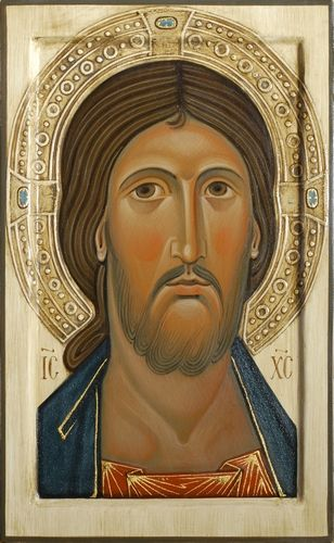 Icon of Christ with relief halo. 2014